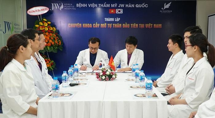 TS.BS Chul Hwan Seul cùng TS.BS Nguyễn Phan Tú Dung kí kết thành lập Chuyên khoa cấy mỡ tự thân tại JW Việt Nam